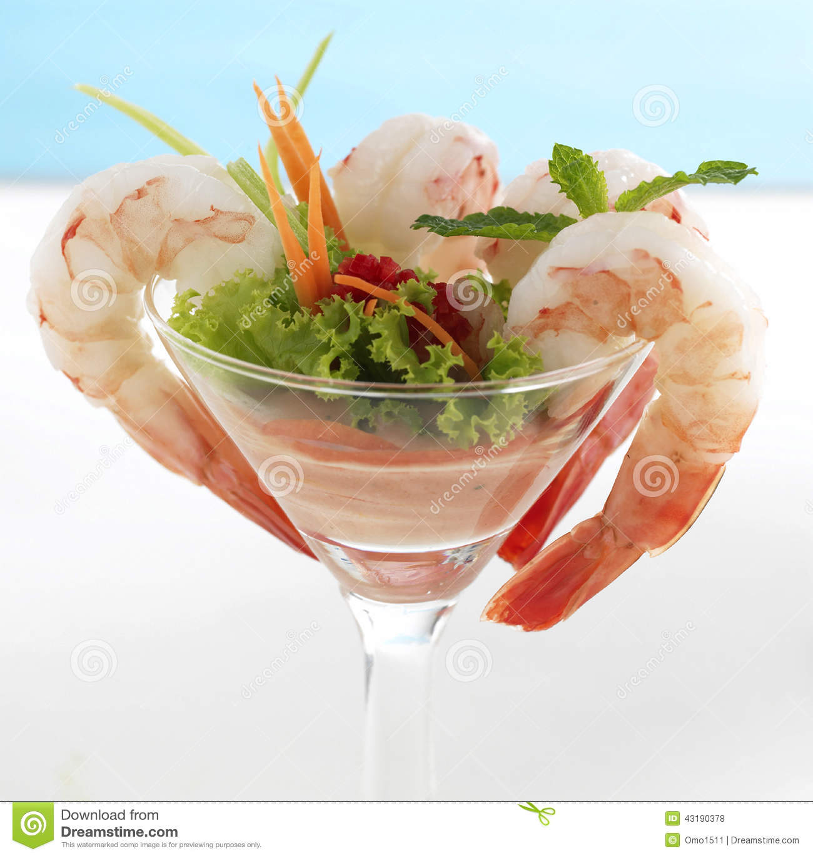 Shrimp or Prawn Cocktail. on a White Background. Health