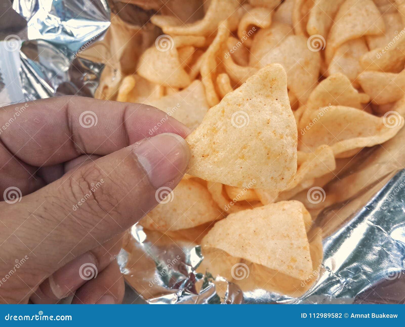 Shrimp rice cracker snack, Snack and fingers, Cookie crispy spongy in Bag Freud;