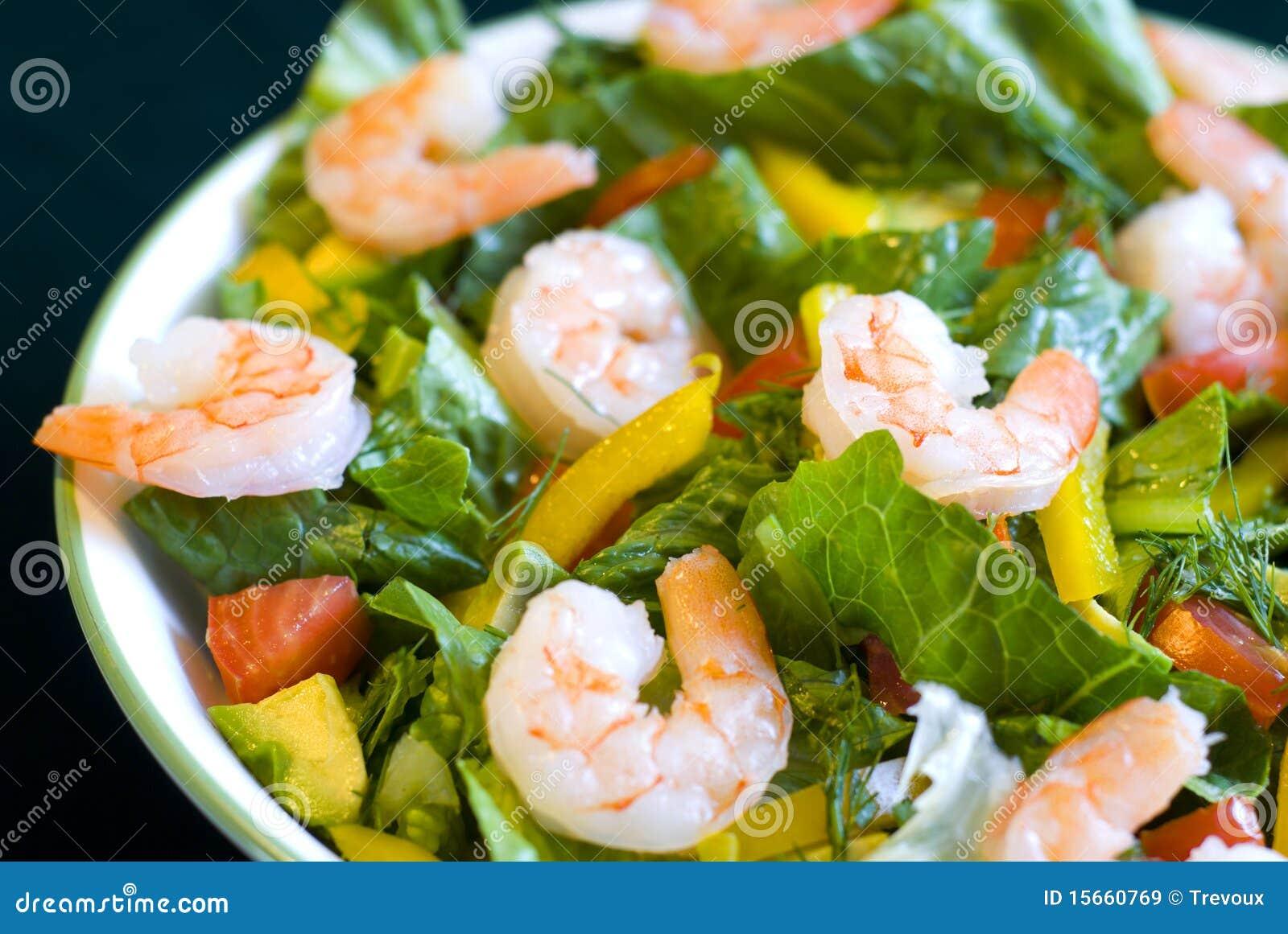 Fresh shrimp salad close-up.