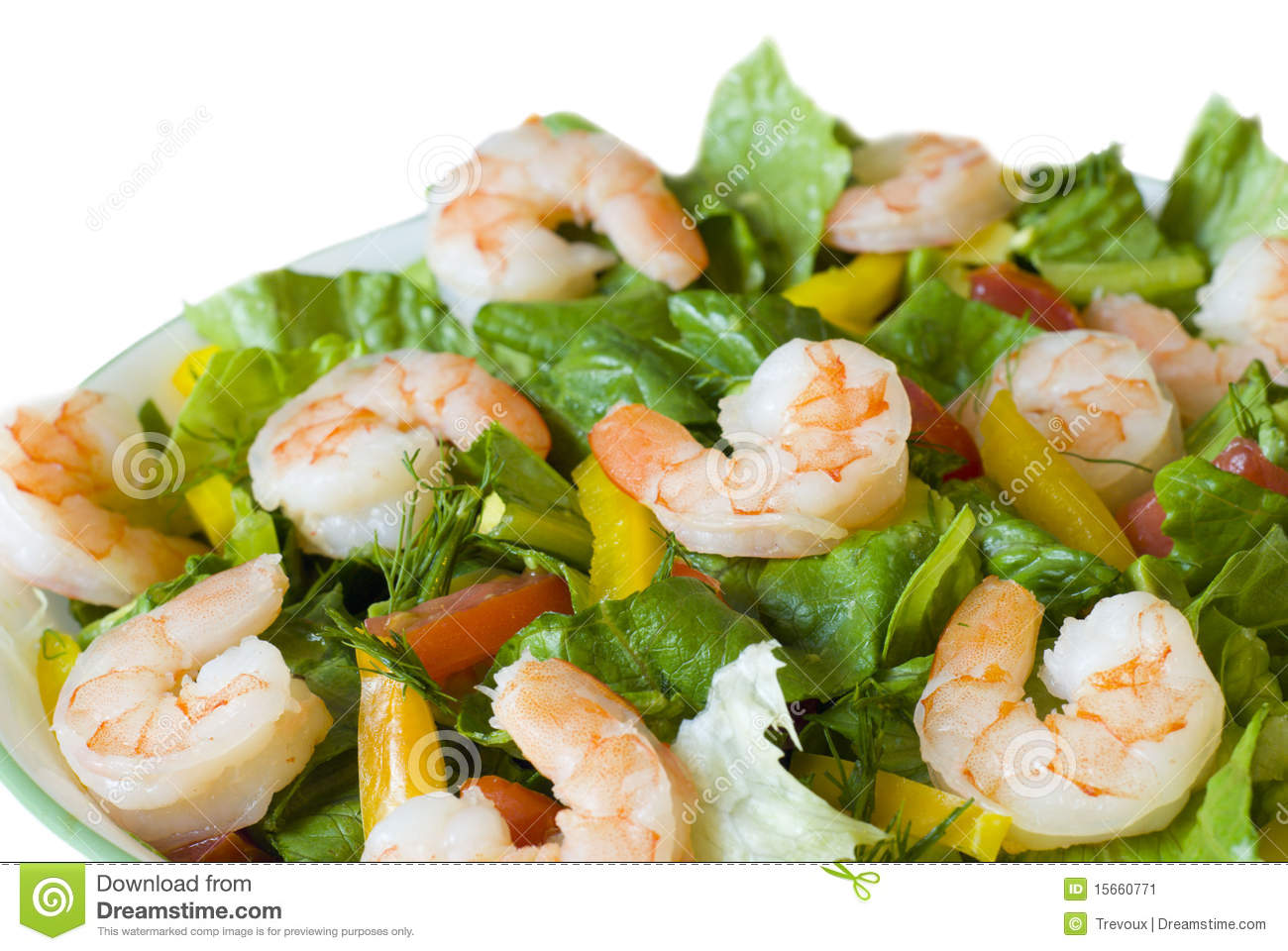 Fresh shrimp salad close-up.