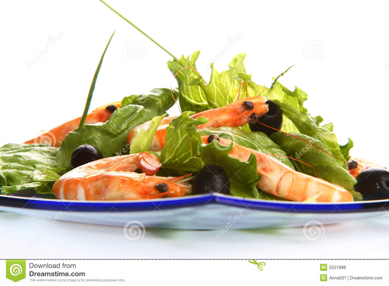 Very fresh shrimp salad with oil and chive.