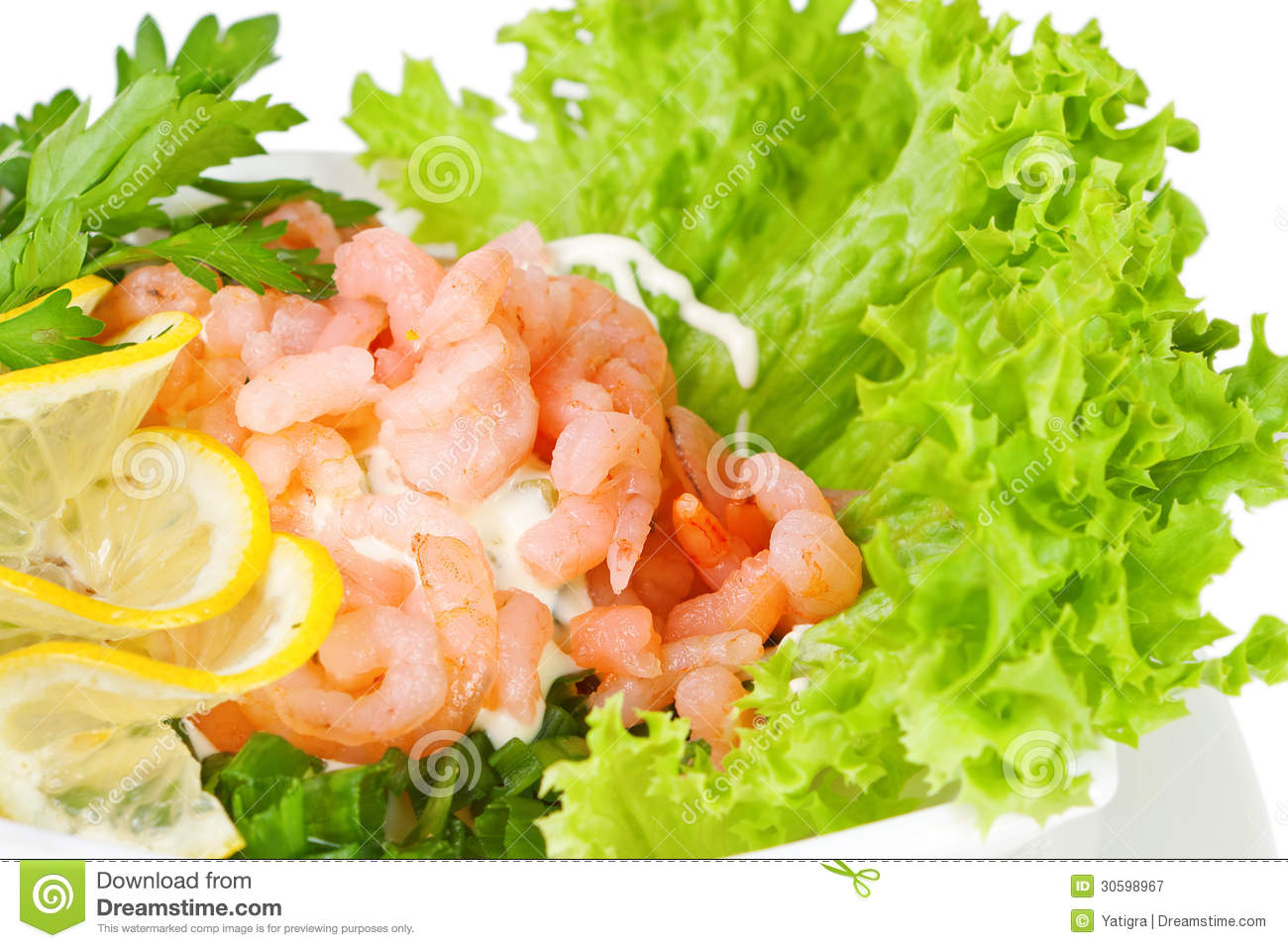 Shrimp Salad On Fresh Lettuce Leaves Royalty Free Stock Photography ...