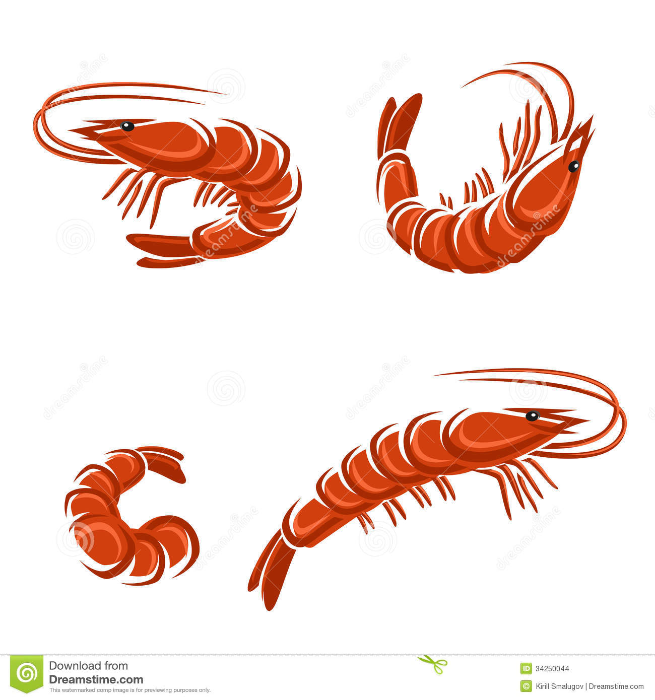 Shrimp set. Vector illustration. This is file of EPS8 format.