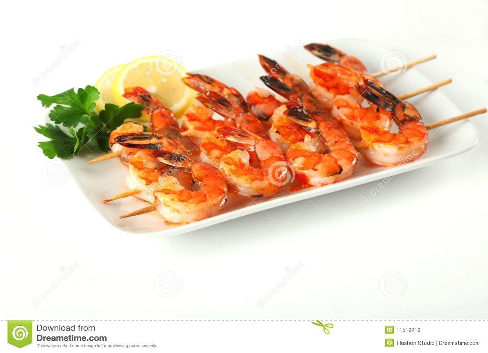Shrimp skewers with sweet garlic chili sauce