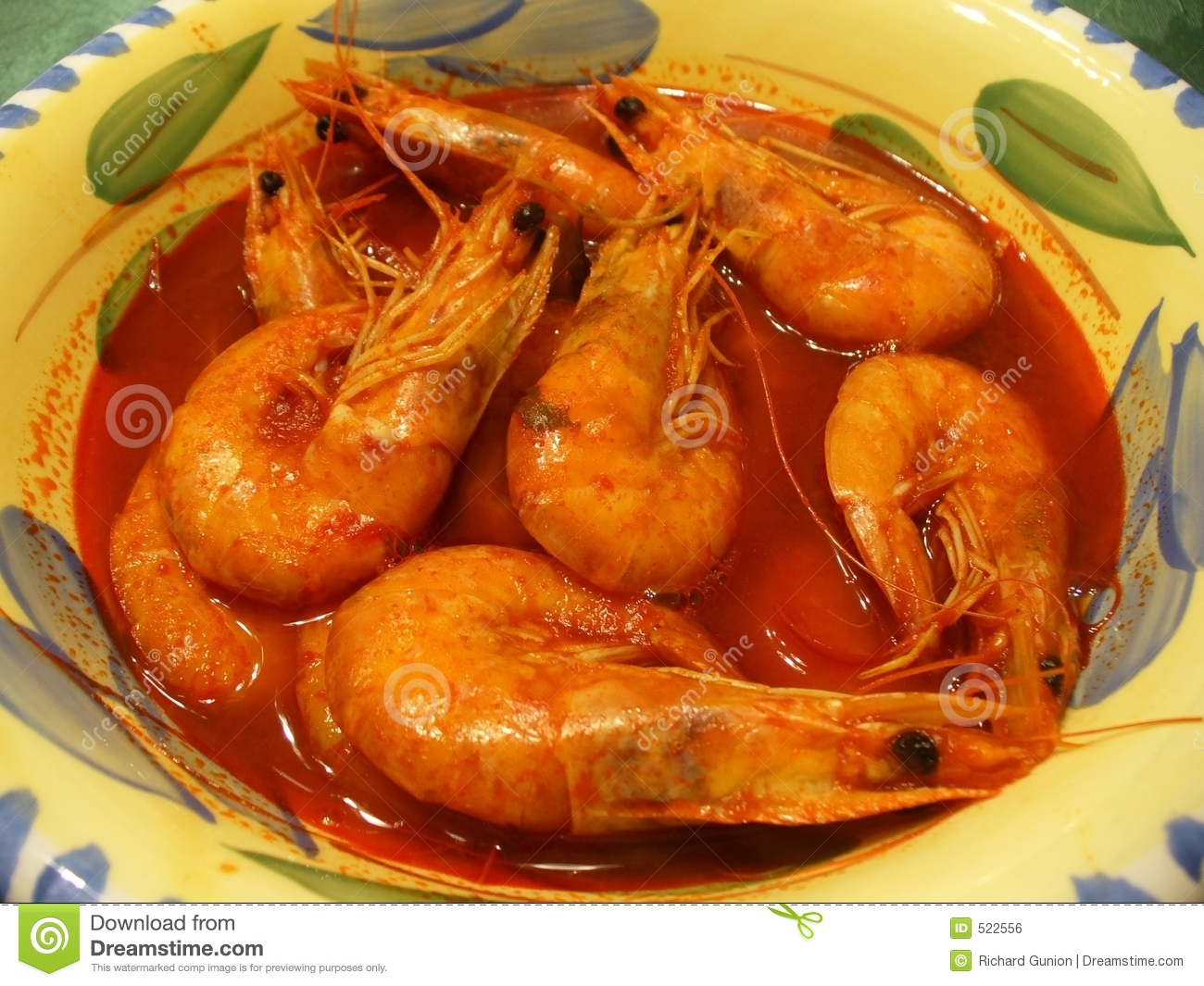 Photo of Mexican style shrimp soup prepared with whole shrimp and ...