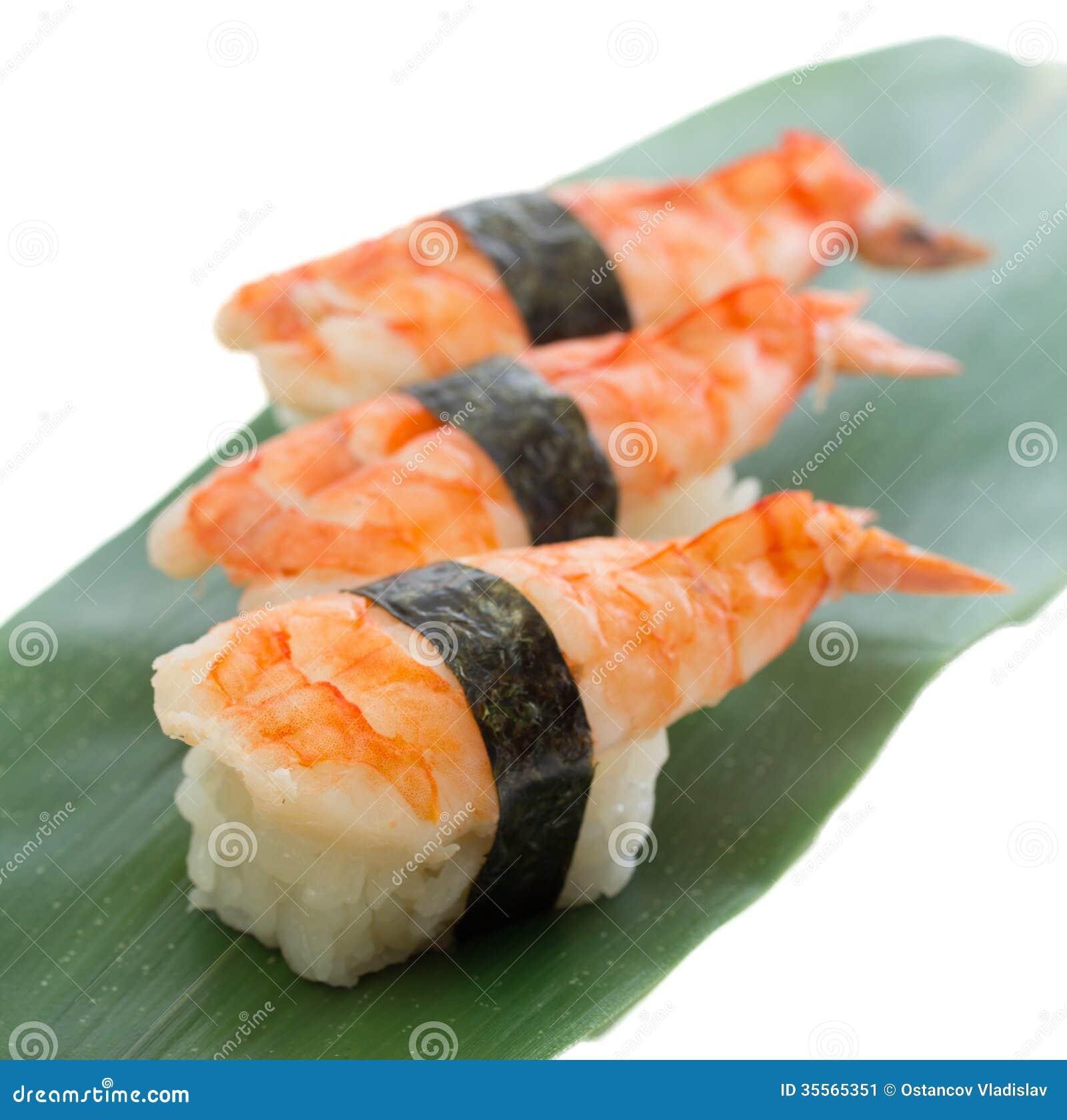Kitchen Design App Shrimp Sushi Nigiri On Wooden Plate Isolated On White