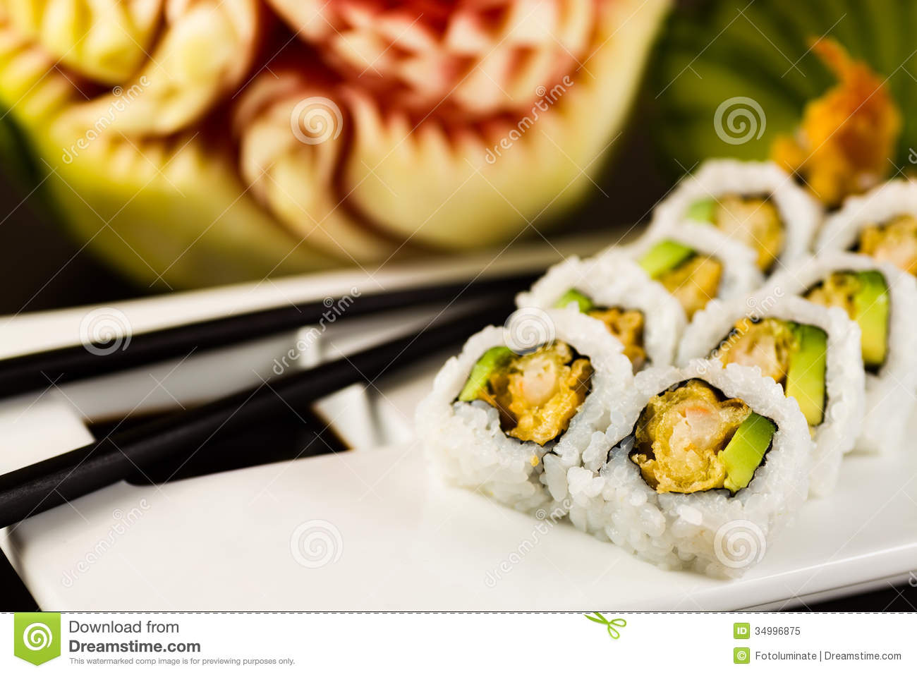 Shrimp tempura roll royalty free stock photo image