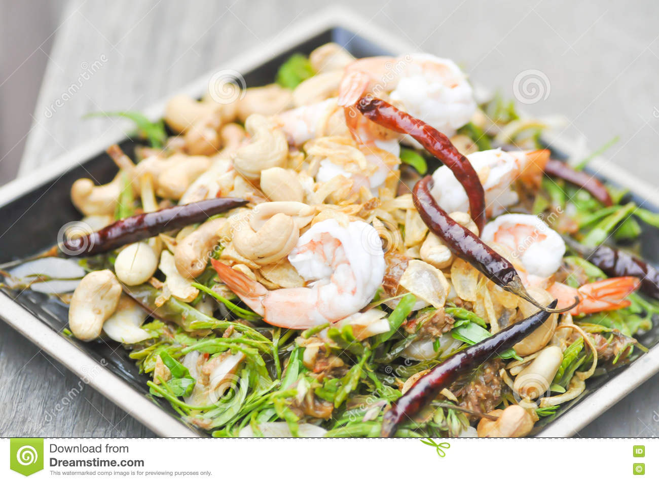 Shrimp and vegetable salad ,spicy salad in Thai food