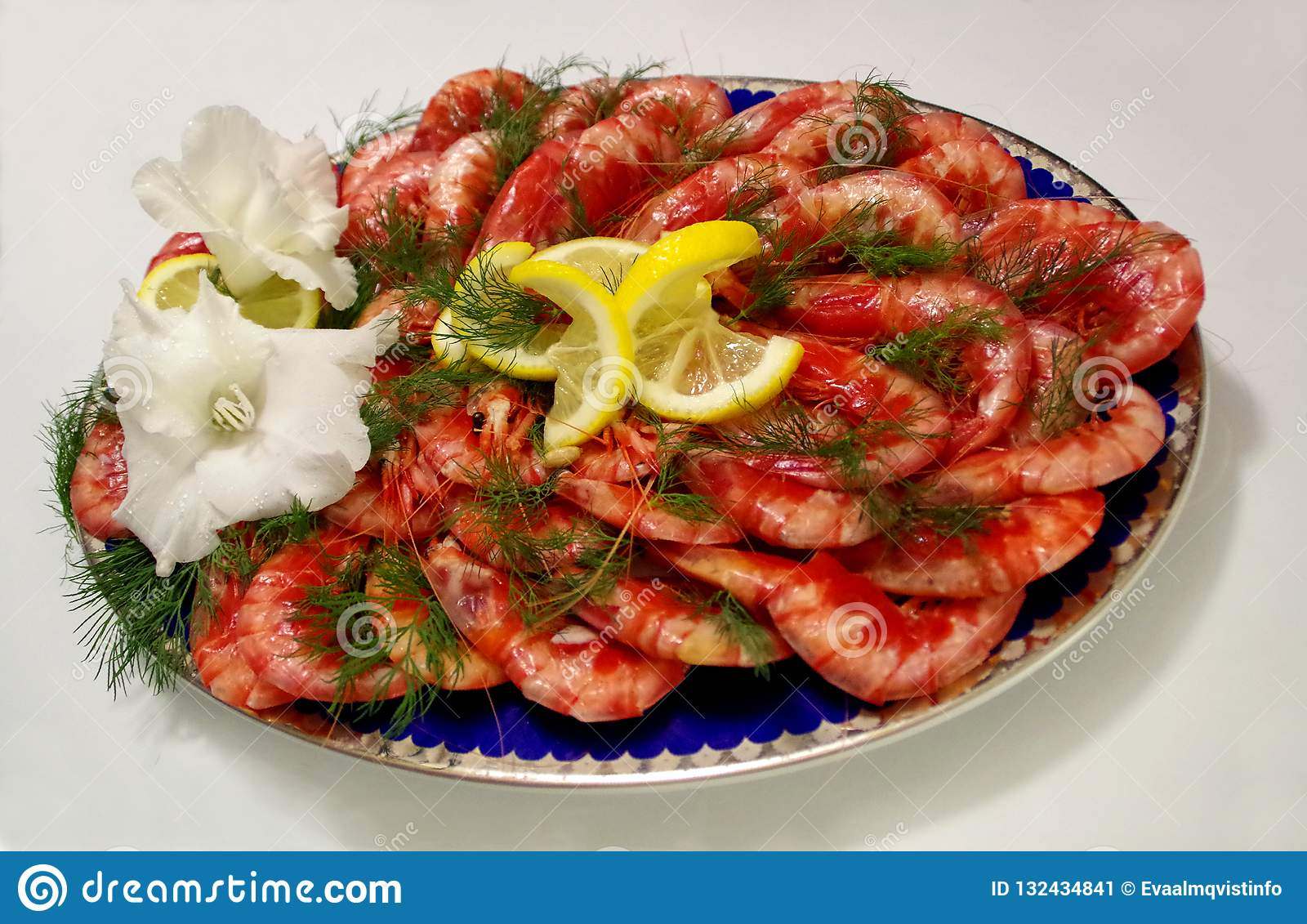 Tasteful Plate With Fresh Shrimps With Lemon Dill And Flower