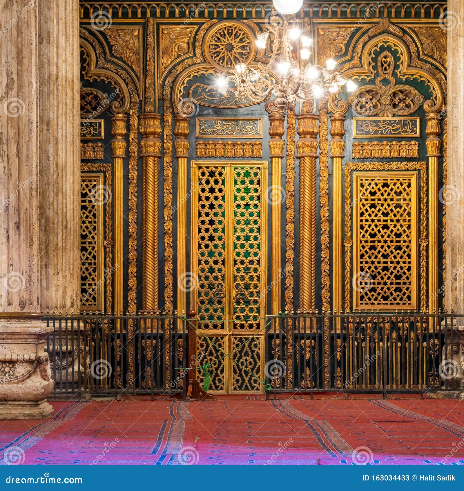 Shrine of Muhammad Ali with golden decorations, Mosque of Muhammad Ali, Citadel of Cairo, Egypt