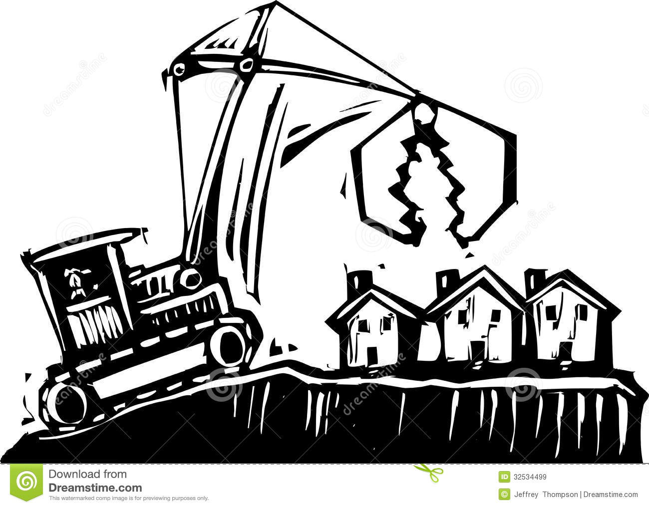 Royalty Free Stock Images Shrinking City Woodcut Style Image Crane Getting Ready To Demolish Small Houses Image32534499 on Small House Plan 3d Home Design