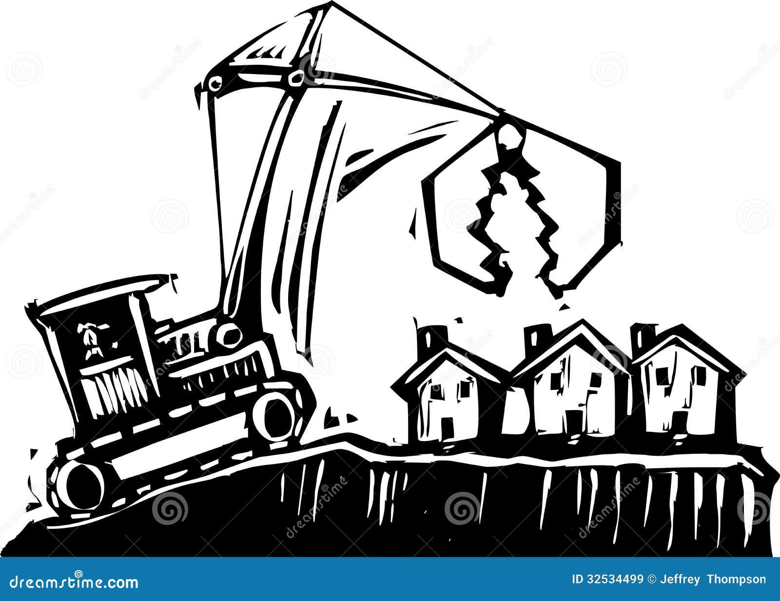 Building Demolition Cartoon : Shrinking city stock vector illustration of bankruptcy