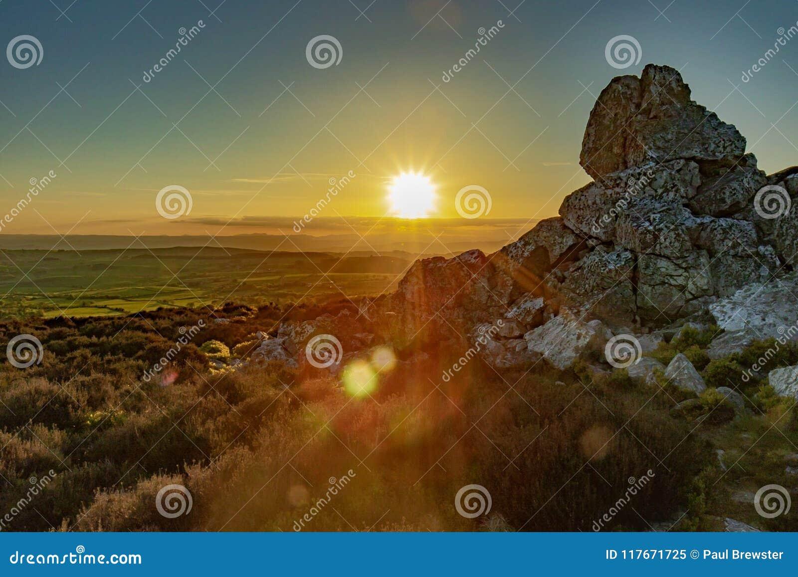 Shropshire landskap på solnedgången