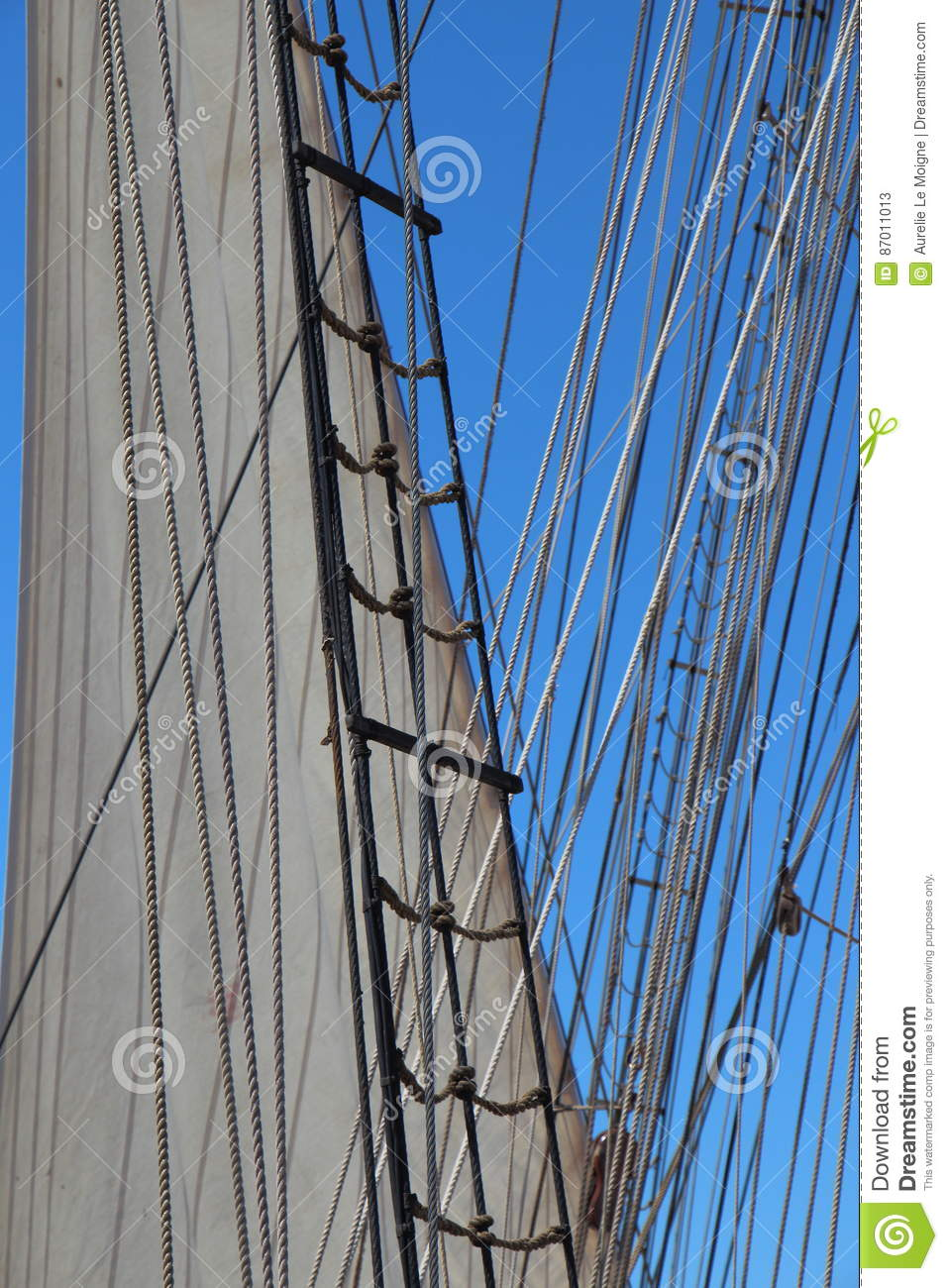 Shroud And Rope Ladder Of A Sailboat Stock Image - Image of mast ...