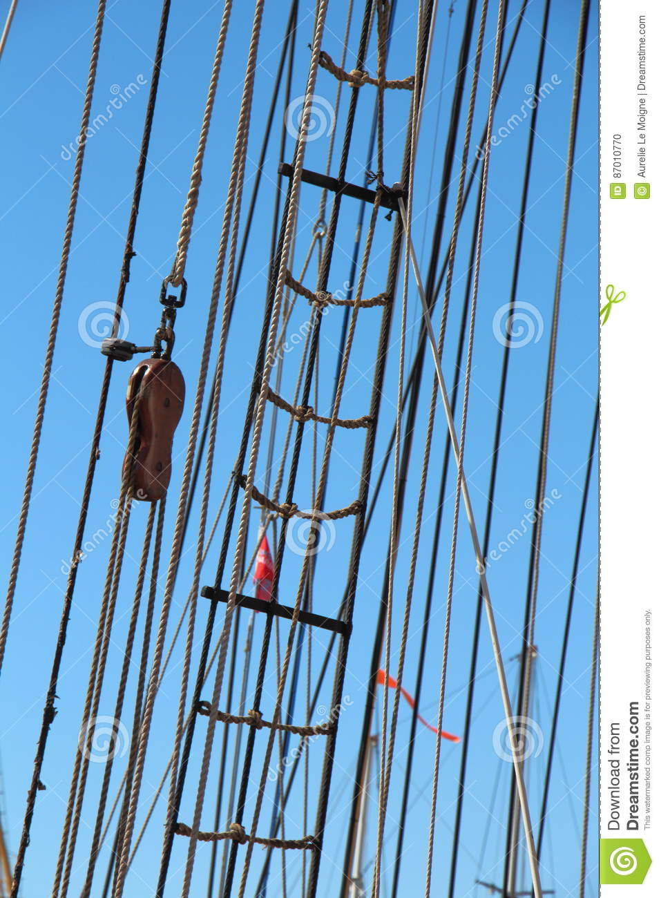 Shroud, Sail And Rope Ladder Of A Sailboat Stock Photo - Image of ...