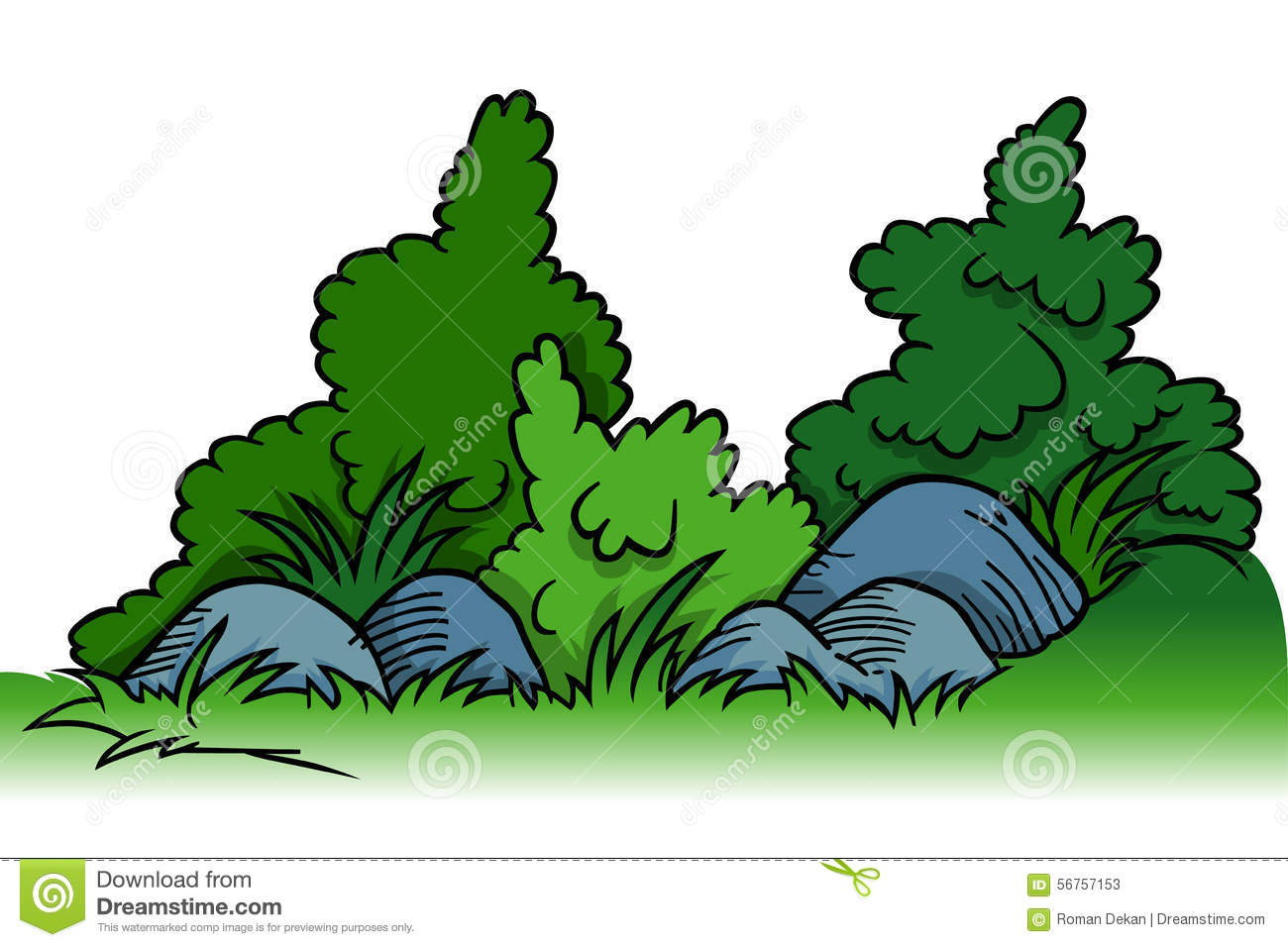 Shrubs With Rocks Cartoon Background Element Vector Illustration