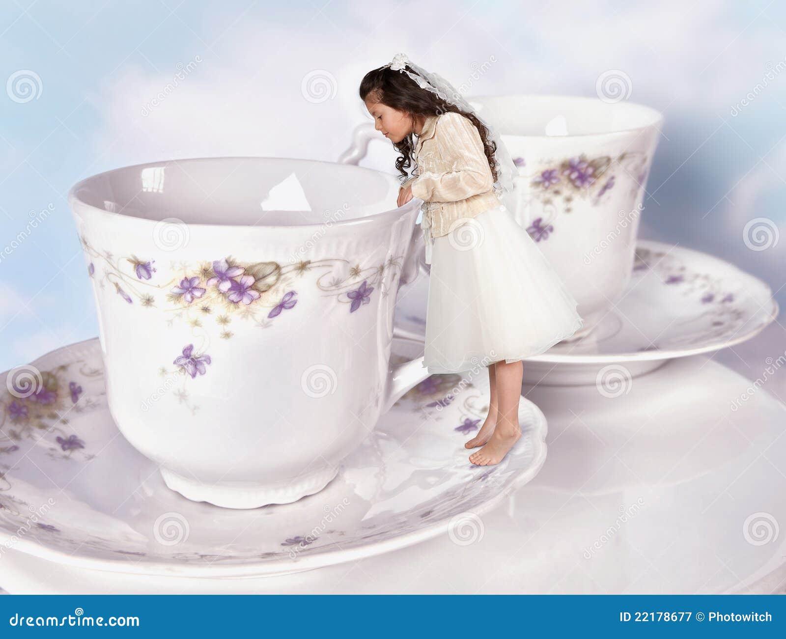 shrunken women in a giantess cup of tea