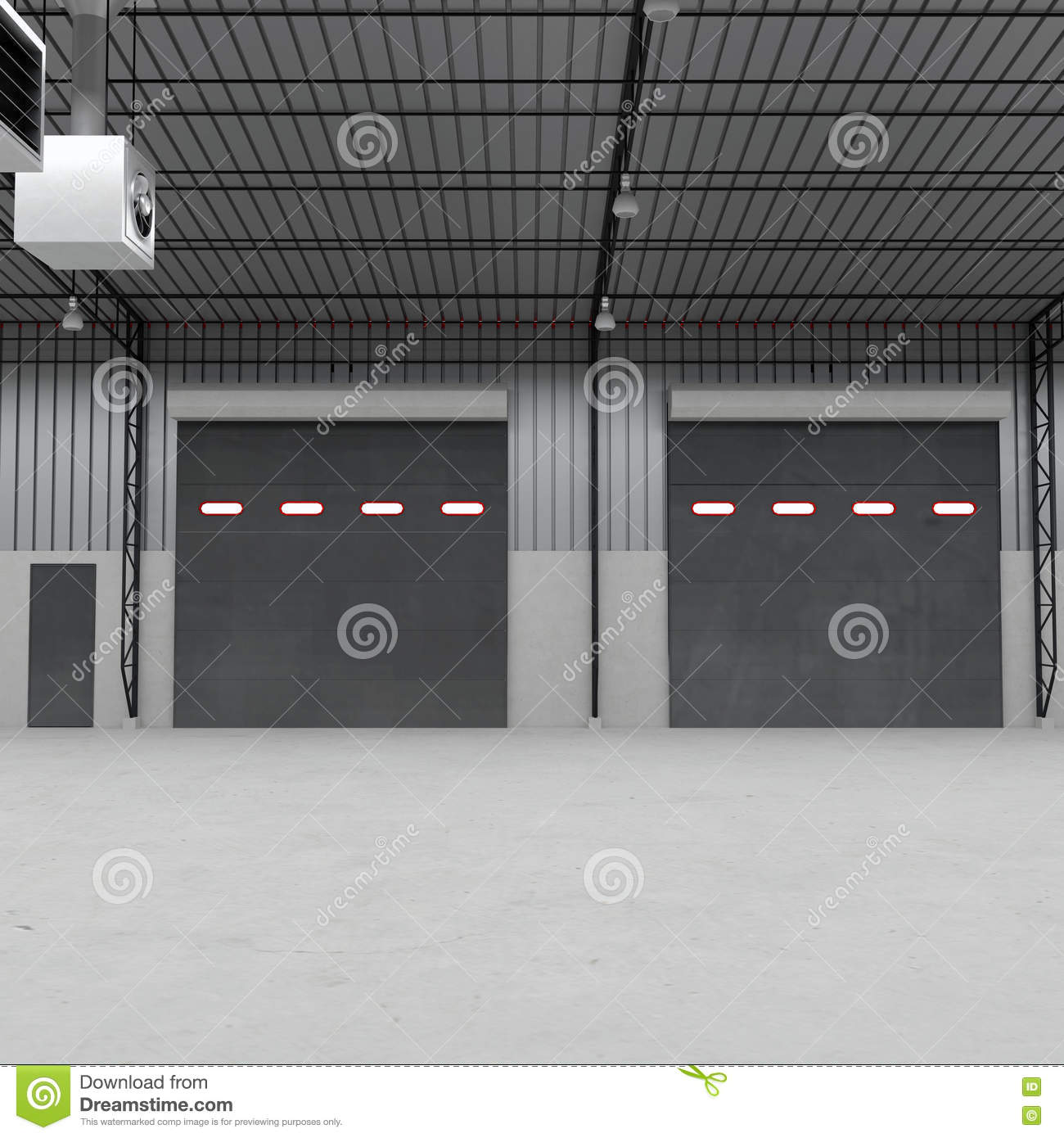 Shutter doors or roller door and concrete floor inside factory shutter doors or roller door and concrete floor inside factory building 3d illustration rubansaba