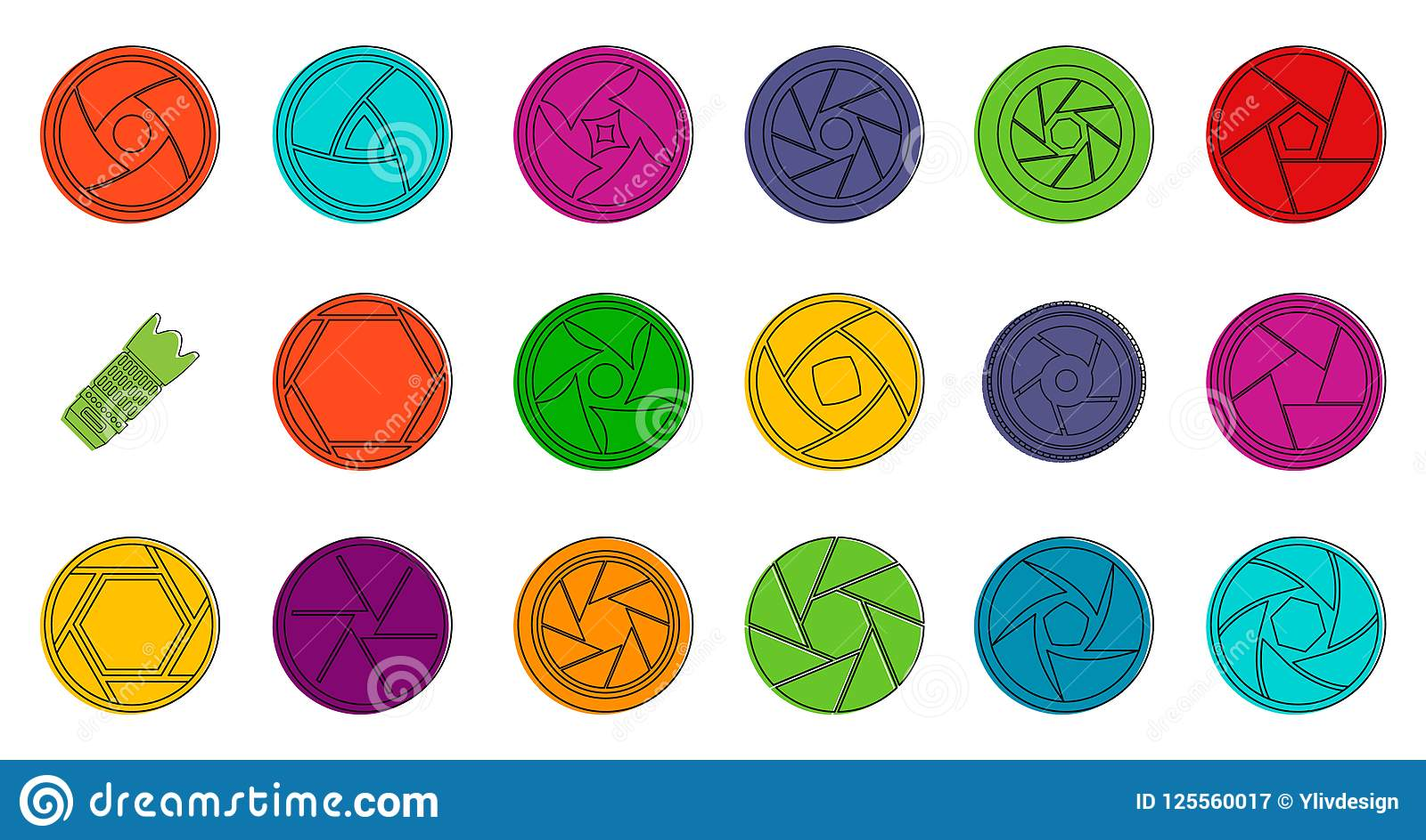 Shutter Icon Set Color Outline Style Stock Illustration