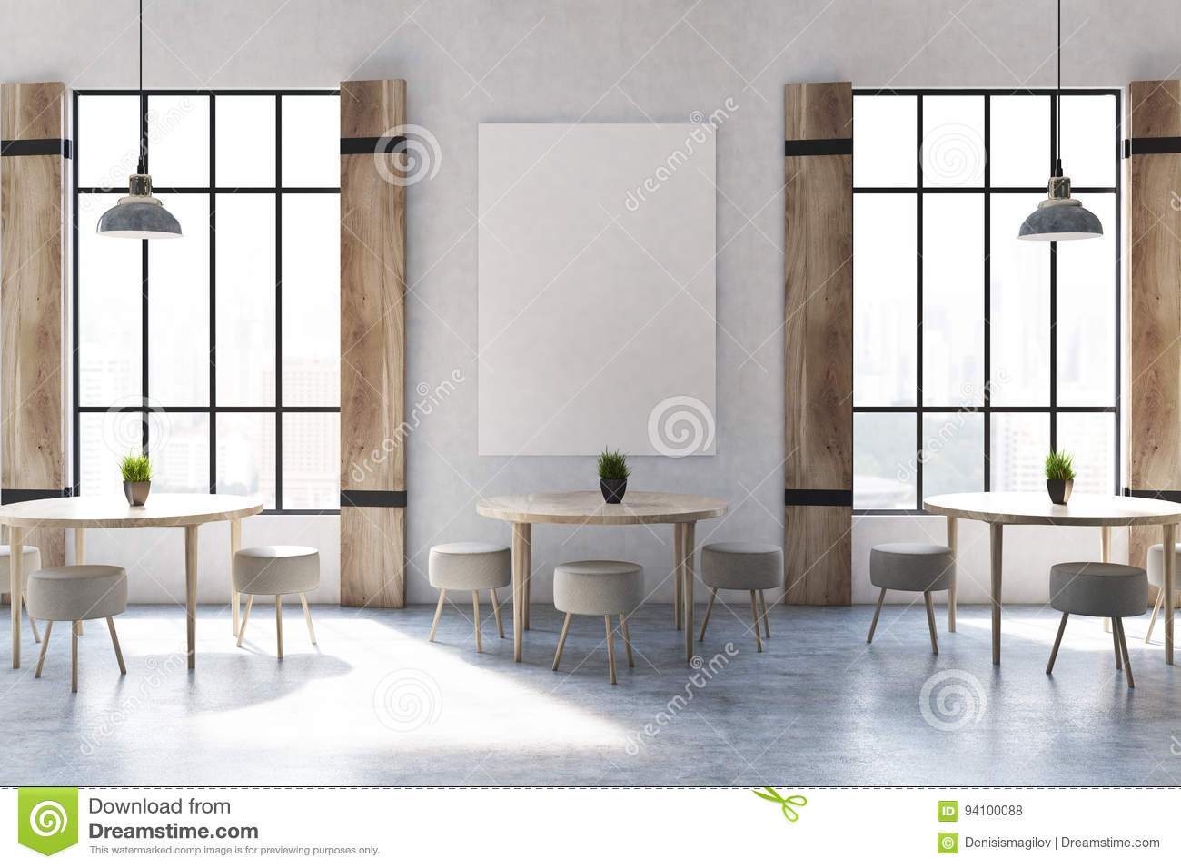 shutters cafe interior with a poster stock illustration - image
