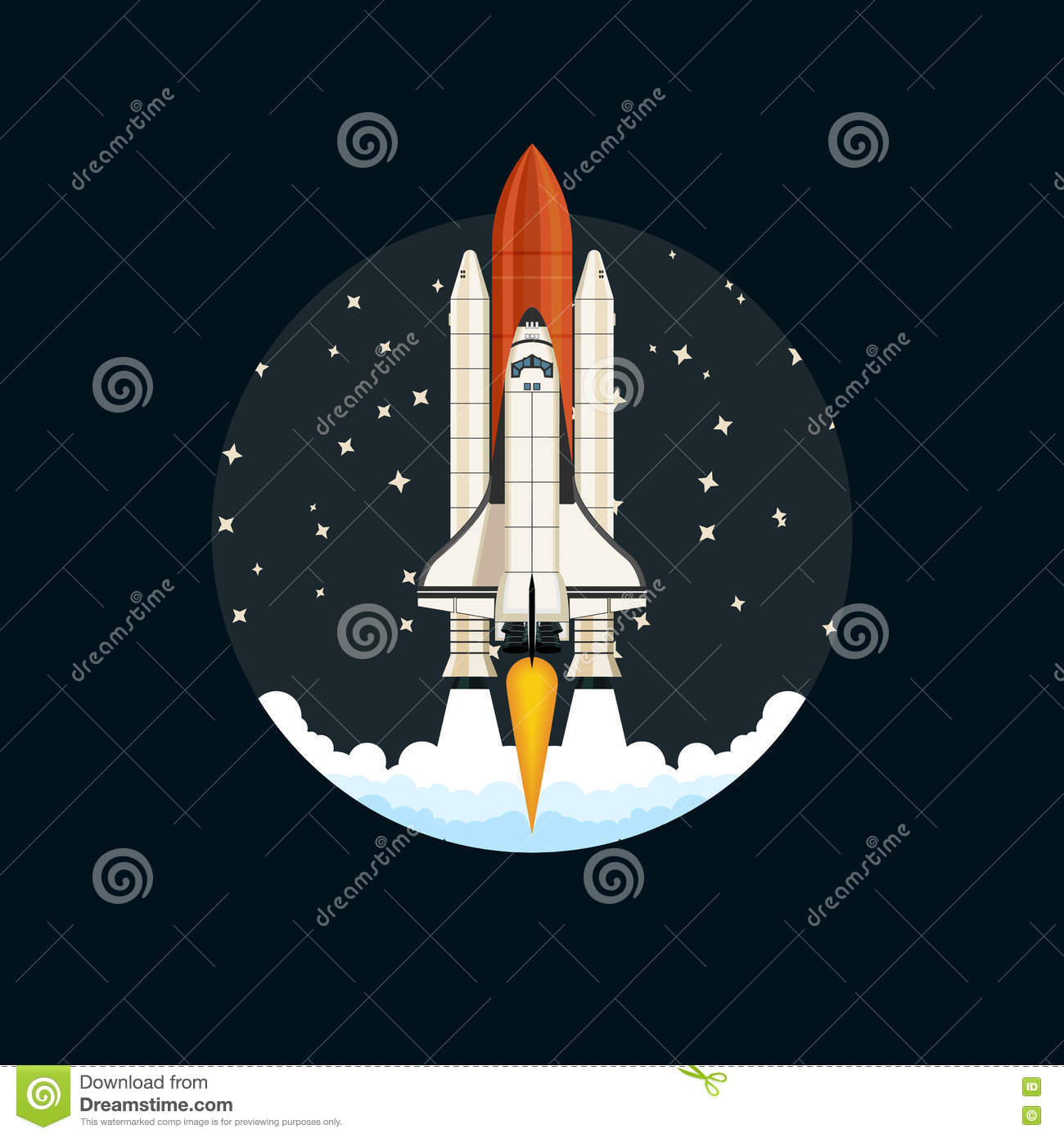 Shuttle Launch. Spaceship And Space Background. Stock ...