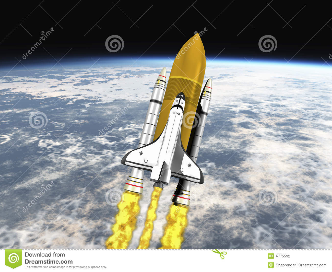 Shuttle leaving earth mid view