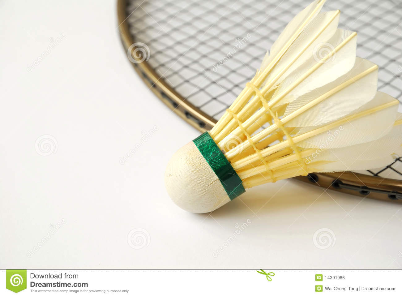 Shuttlecock on badminton racket with isolated white background. For ...