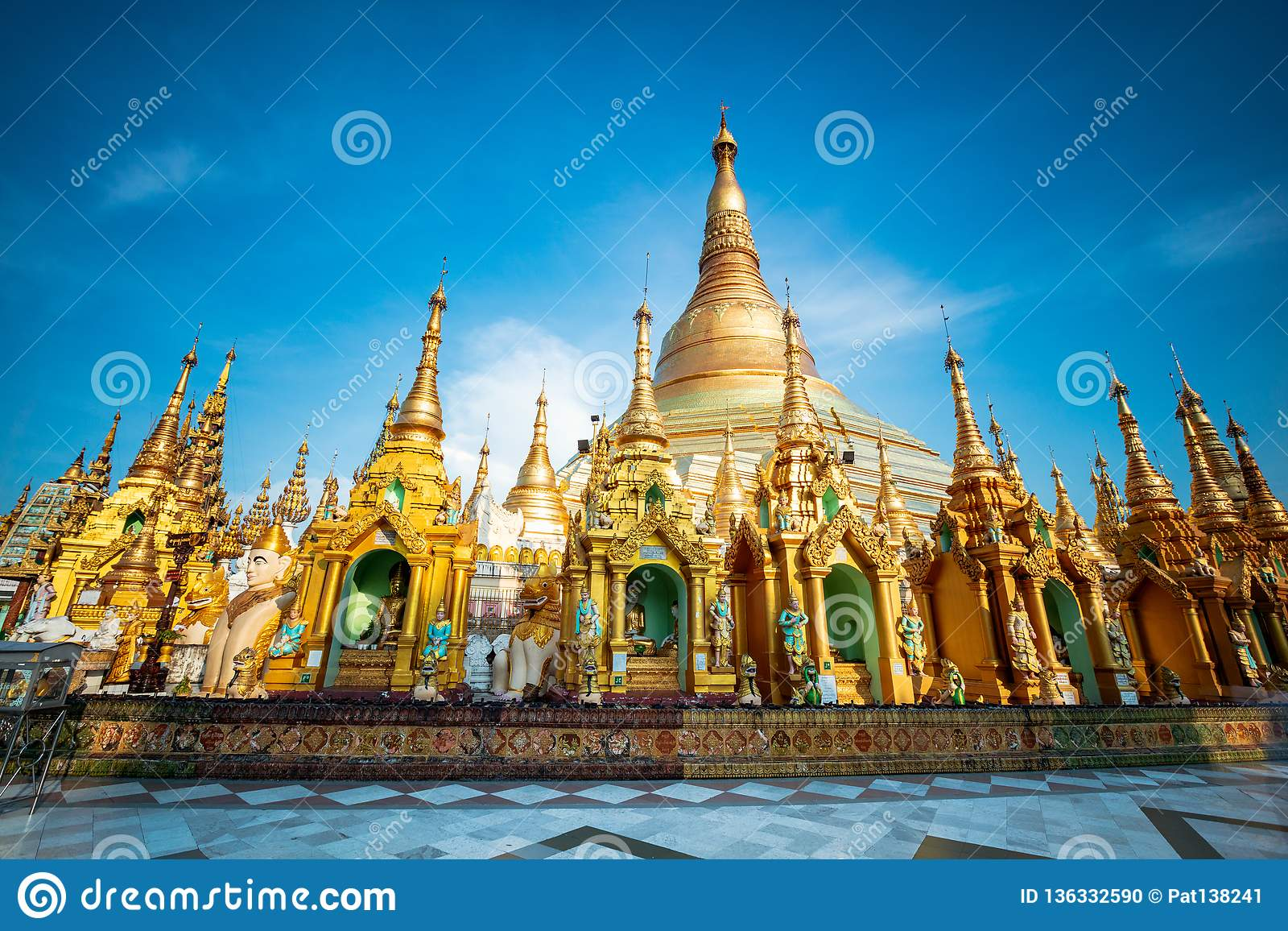 GoEoo 10x8ft Shwedagon Pagoda in Yangon Backdrop Vinyl Photography Background Myanmar Famous Sacred Place and Tourist Attraction Landmark Tourist Sites Photo Studio