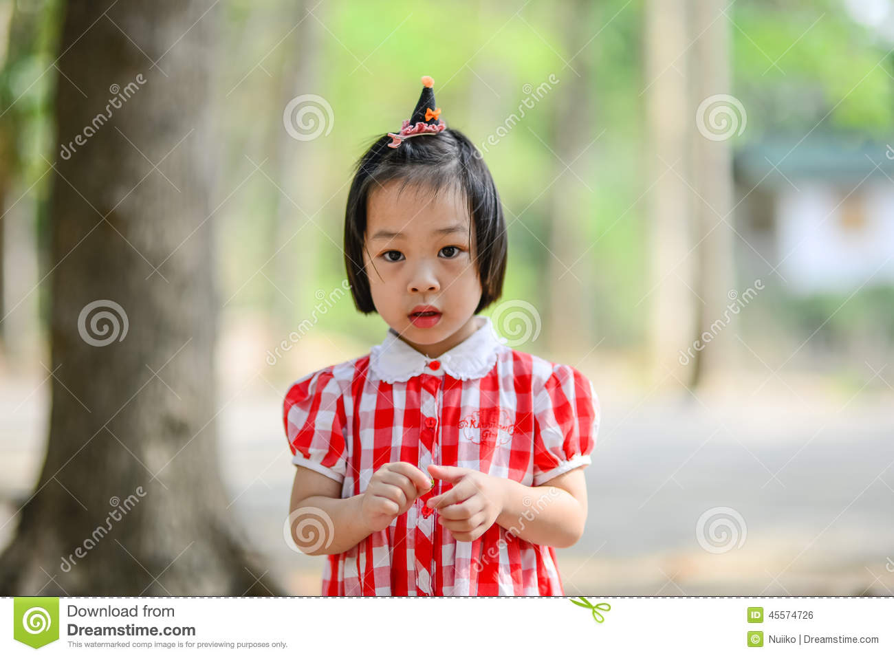 Shy Asian Girl In The Park Outdoor. Stock Photo - Image of ...