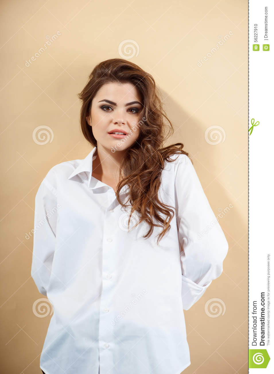 Shy Beautiful Young Girl In White Blouse Stock Photo Image Of