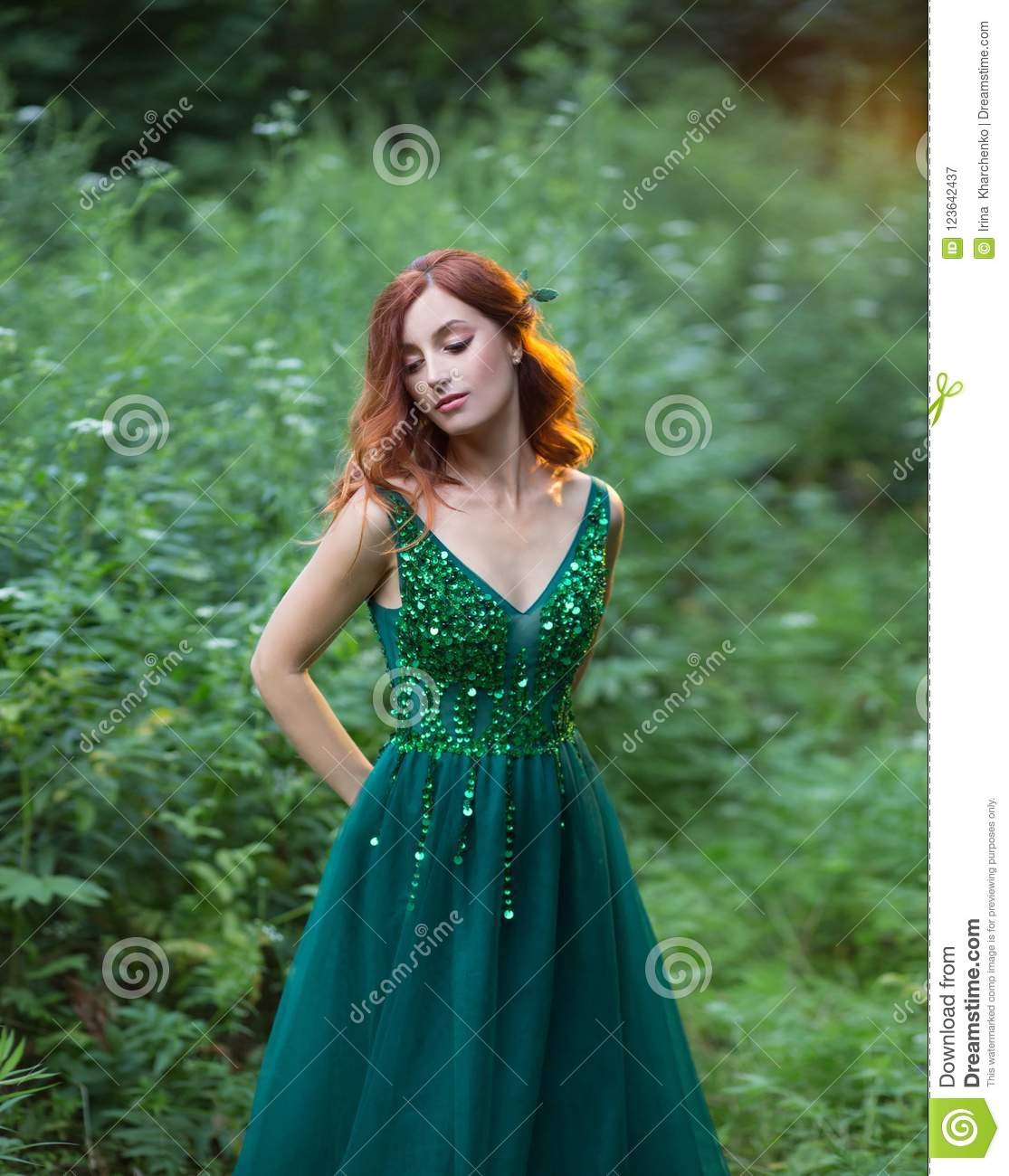 shy forest nymph is hidding a secret in forest red hair enerald