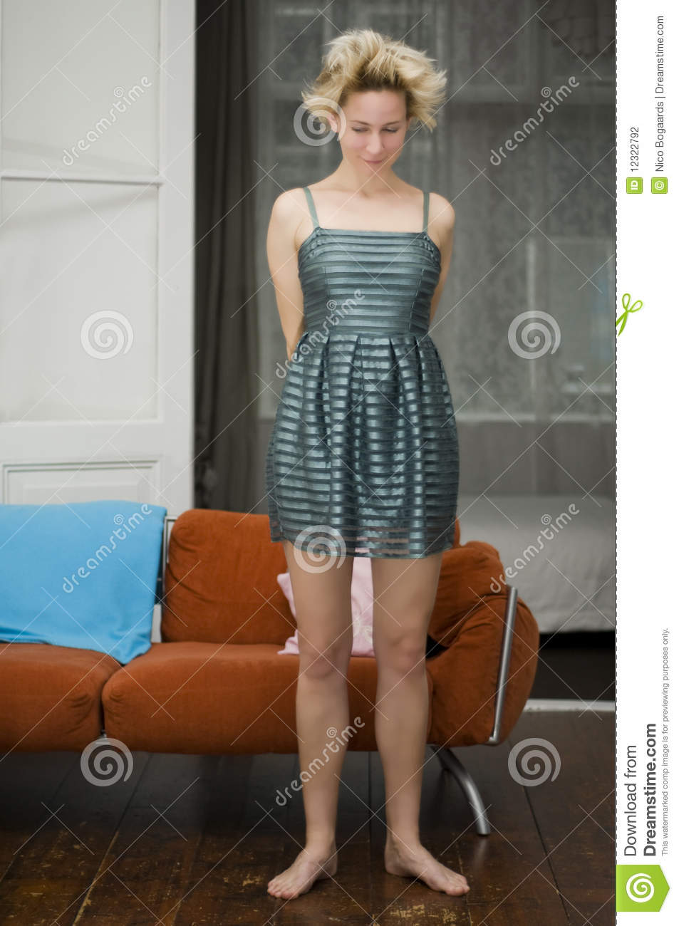 shy girl showing dress stock photography   image 12322792