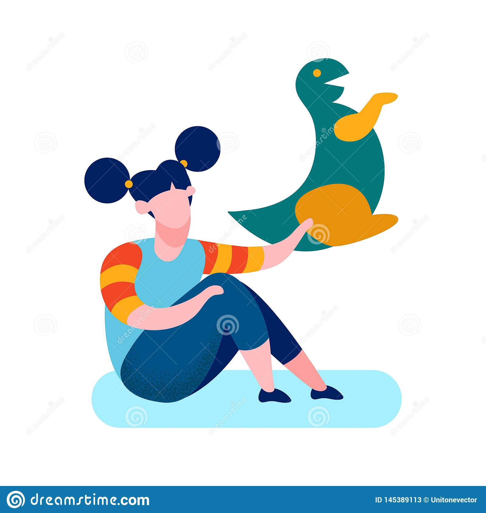 Shy Girl Soft Toy Cartoon Vector Illustration
