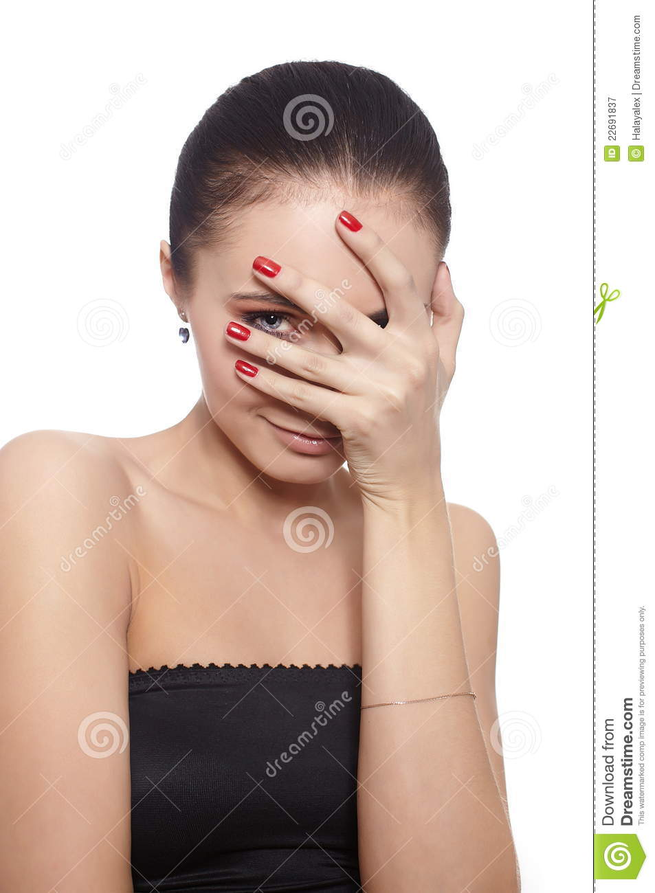covering face with hands shy woman covering her face with her hand royalty free 3625