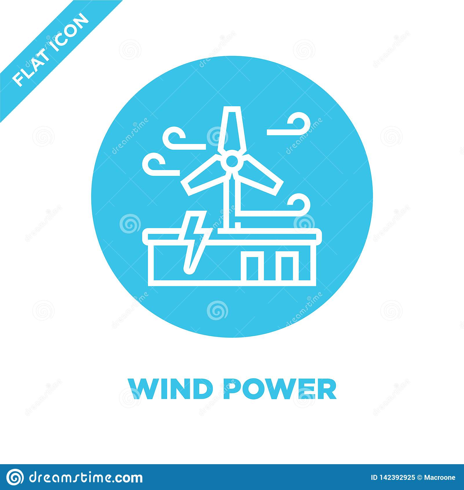 Siła wiatru ikony wektor od globalne ocieplenie kolekcji Cienka kreskowa siła wiatru konturu ikony wektoru ilustracja Liniowy sym