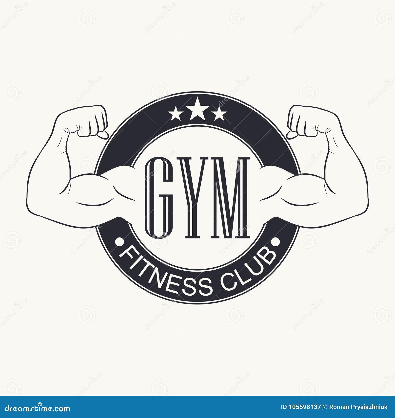 Siłownia Sala gimnastyczna emblemat Sprawność fizyczna klubu logo Typografii grafika dla koszulki, projekt sportswear odzież Body