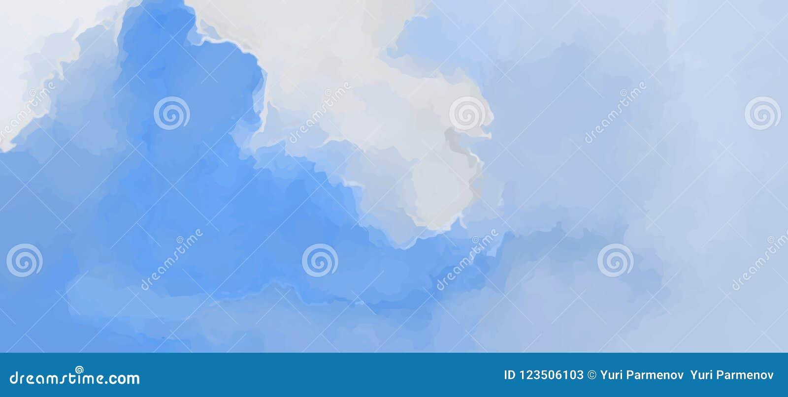 Si appanna l alba delicata blu di mattina del contesto scenico Cielo dell acquerello e nuvole dipinti a mano, fondo astratto