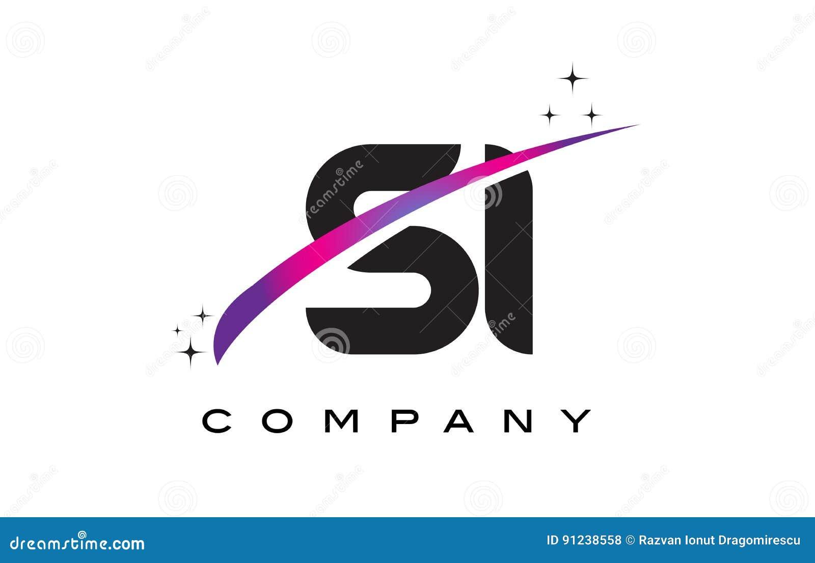 SI S I Black Letter Logo Design with Purple Magenta Swoosh