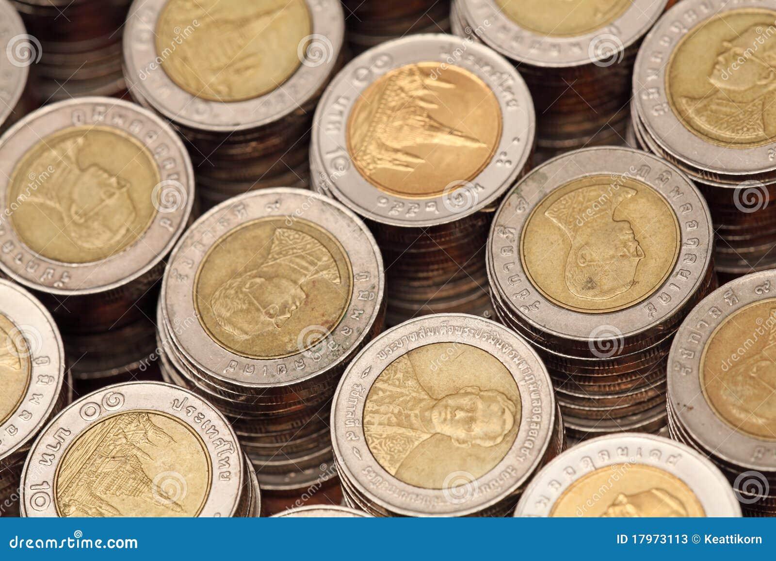 Siamesische 10 Baht Münzen Stockbild Bild Von Fremd 17973113
