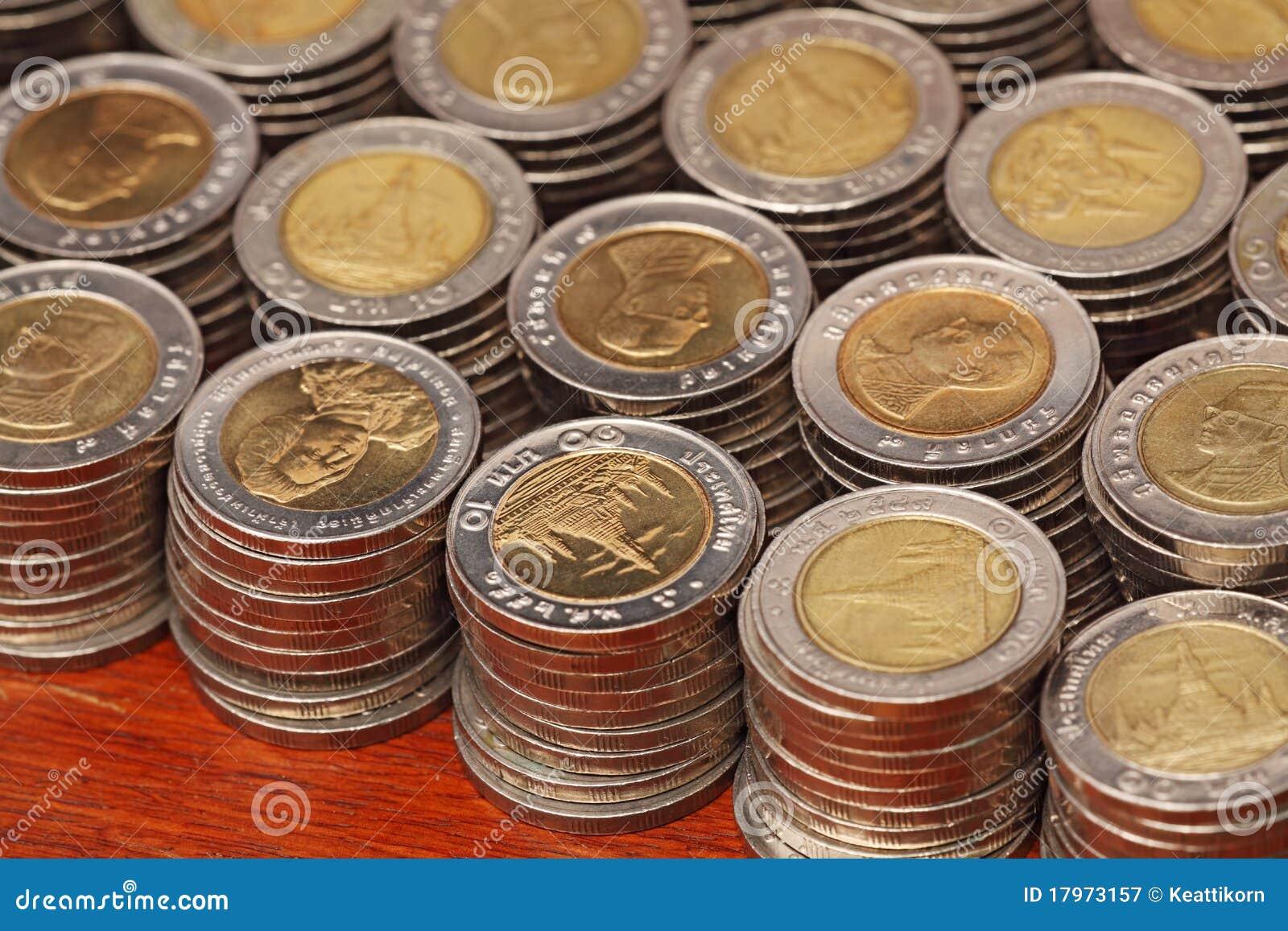 Siamesische 10 Baht Münzen Stockbild Bild Von Bronze 17973157