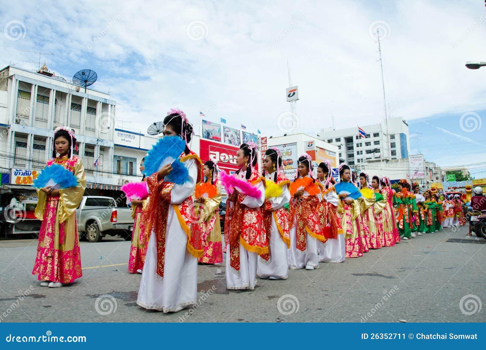 Siamesische chinesische Mönchparade.