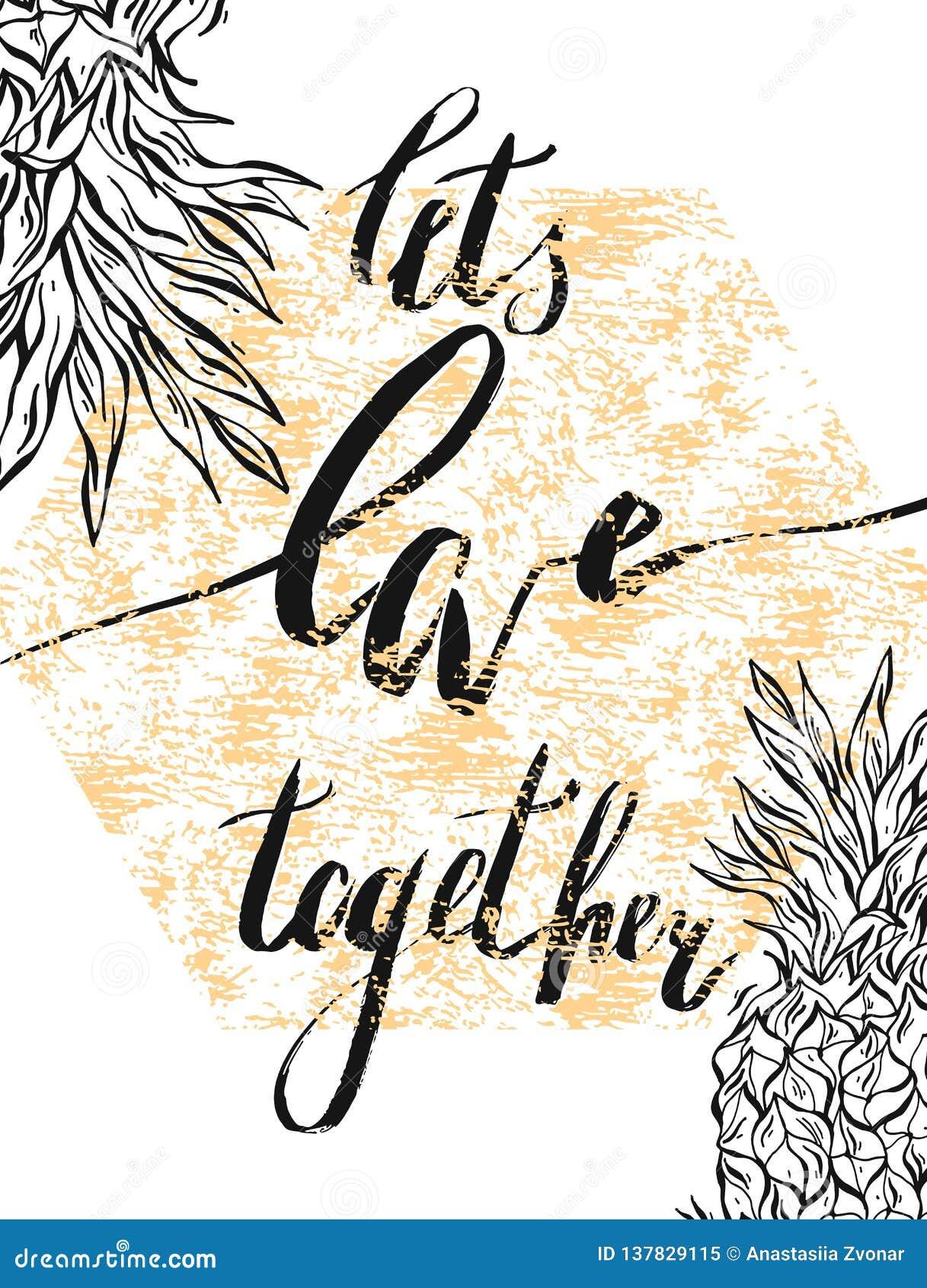 Siamo insieme migliori Cartolina d auguri di giorno di biglietti di S. Valentino con la calligrafia Elementi disegnati a mano di