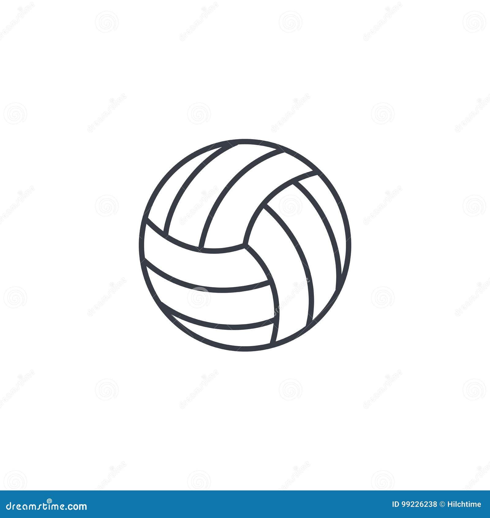 Siatkówki piłki cienka kreskowa ikona Liniowy wektorowy symbol
