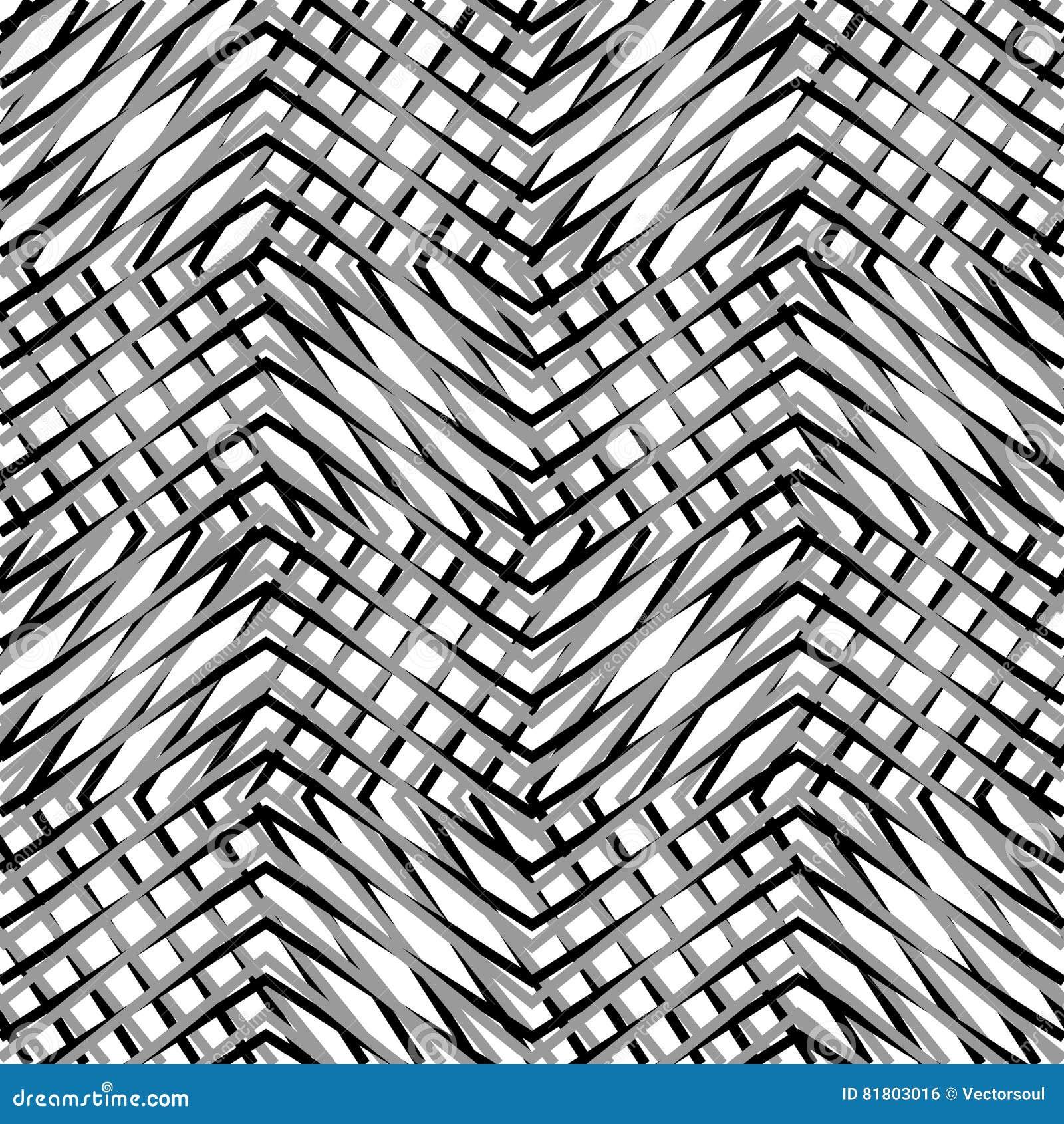 Siatka, siatka, zygzag, zirytowane linie Mozaika jak grill, drażniący półdupki