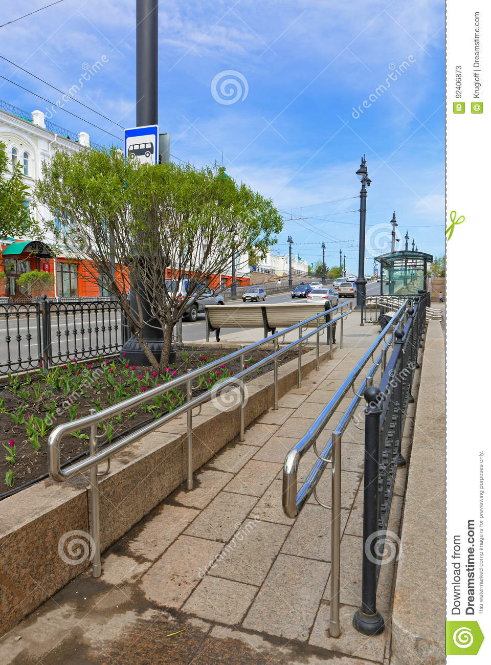 Siberia The City Of Omsk A Wheelchair Ramp From The