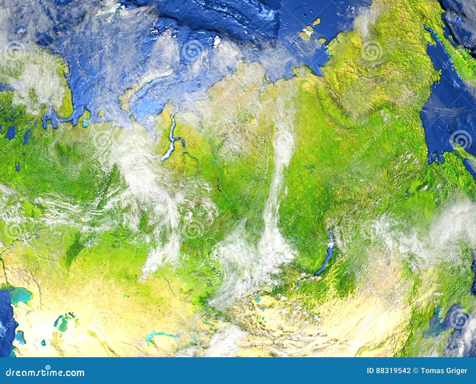 Asia Map Siberia.Siberia On Earth Visible Ocean Floor Stock Illustration