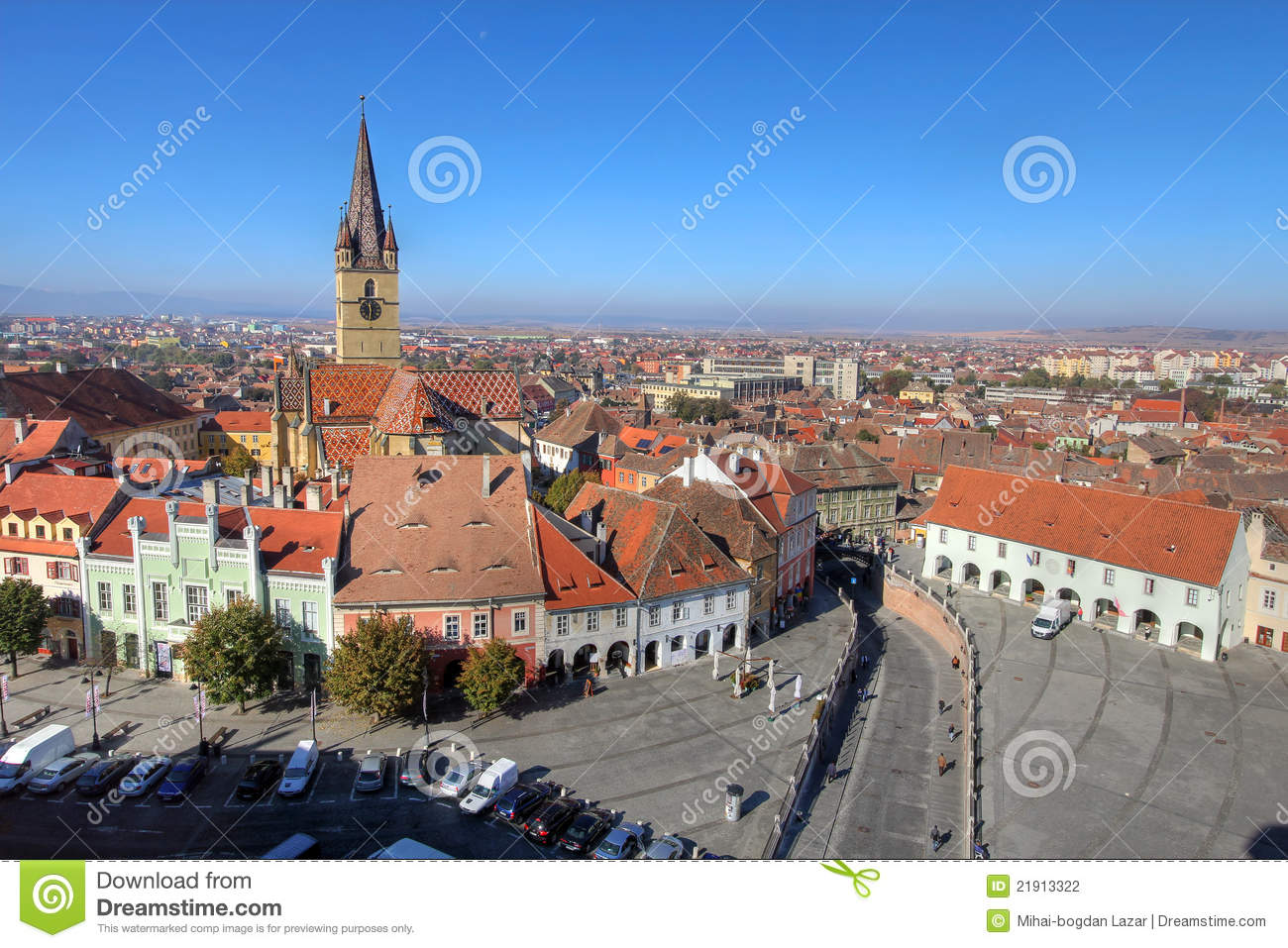 Sibiu Romania  city photos gallery : Aerial overview of Sibiu, Romania from the Council Tower. The view ...