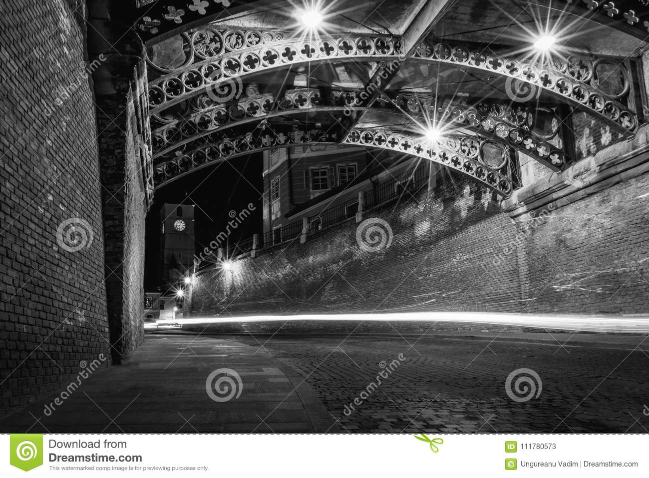 Sibiu at night below The Bridge of Liars and with the Council Tower in background
