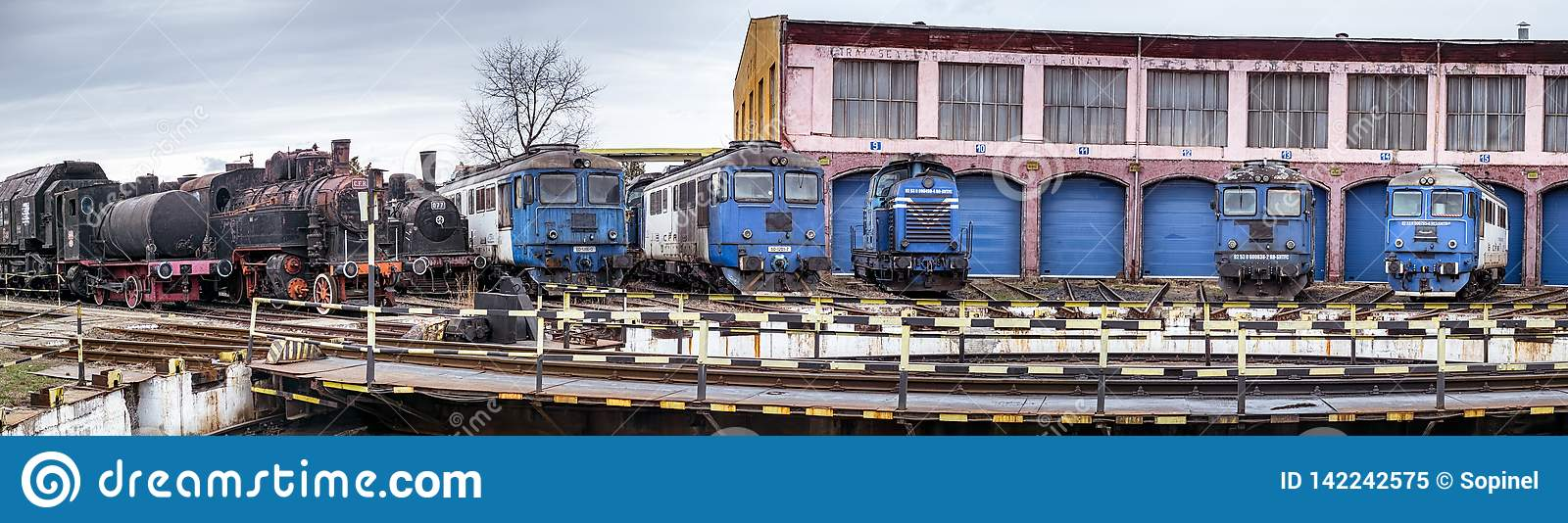 Railway depot with old steam and modern diesel locomotives