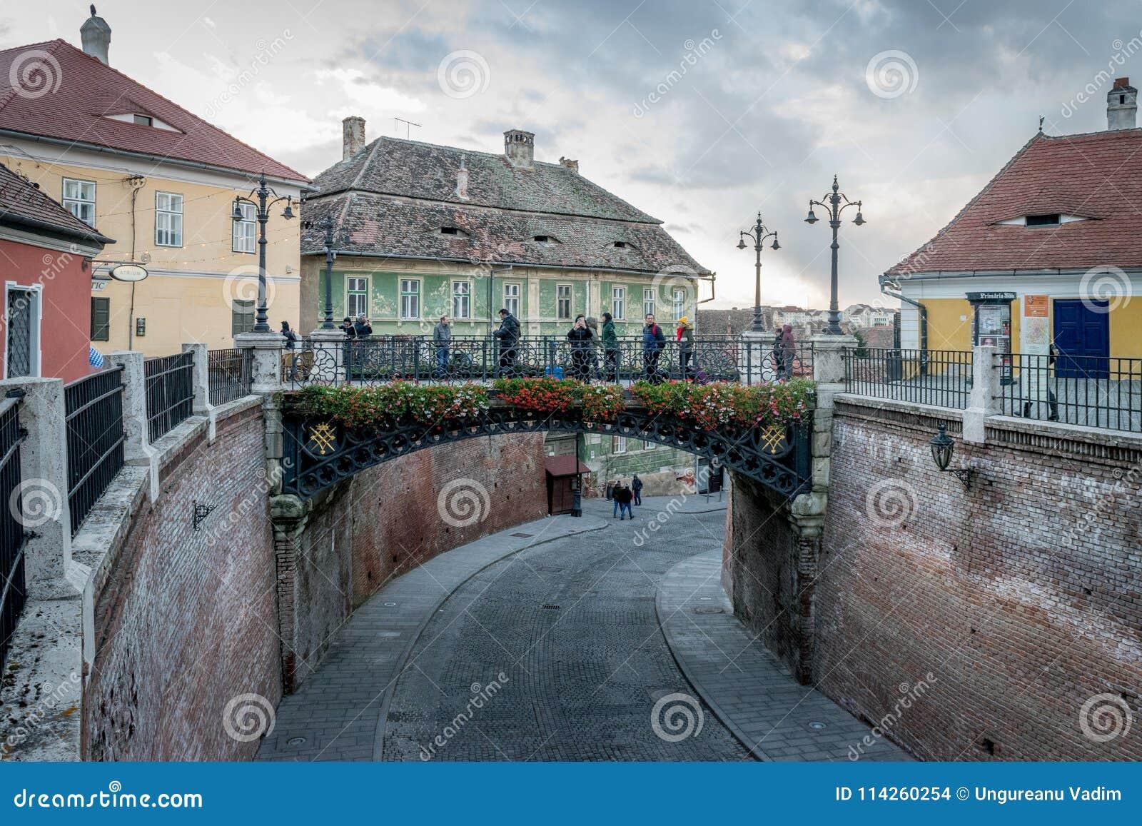 SIBIU, ROMANIA - 30 OCTOBER, 2017: The bridge of lies in the historical center of Sibiu
